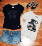 Billabong sweatshirt, Quiksilver girls tee, and Vans Authentics