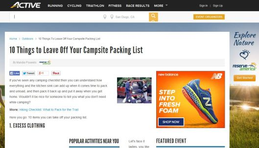 Active.com article 10 things to leave off your campsite packing list
