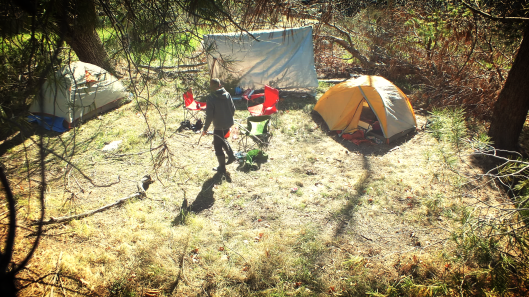 the campsite at a higher view