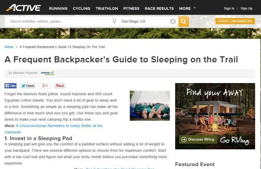 frequent backpackers guide to sleeping on the trail