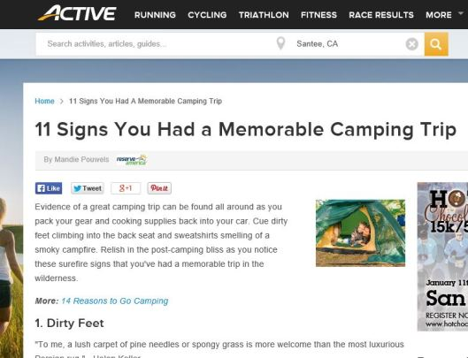 Active- memorable camping trip